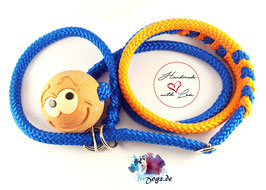 PPM-Agilityhundeleine 8mm (orange-blau) mit Ball