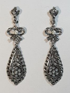 Brincos prata marcassitas com laço pequeno e pérolas 60 - RB
