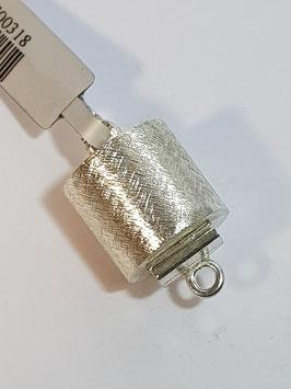 Fecho Colar Prata Cilindro Escovado - FE00318