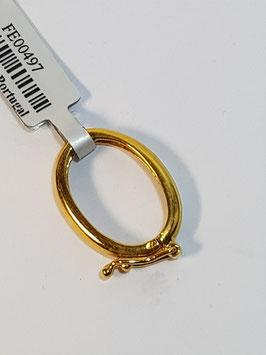 Fecho Prata Dourada de Torçada, Oval - FE00497