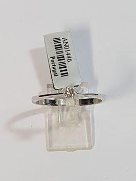 Anel ouro branco e diamante - solitário 0,06Cts - RS