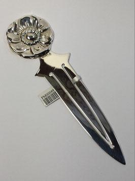 Marcador de livros e abre cartas em prata medalha flor