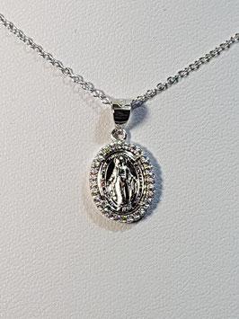 Fio prata com medalha da milagrosa em aro de zircónias - RR