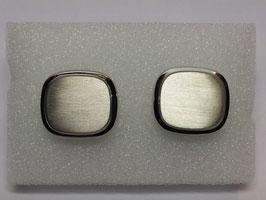 Botão de Punho Rectangular Arredondado  e Escovado