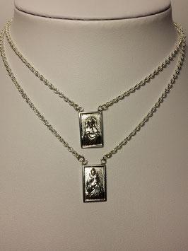 Fio prata escapulário medalhas rectangulares- PP