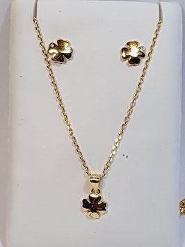 Fio e brincos em prata dourada com trevo - AU