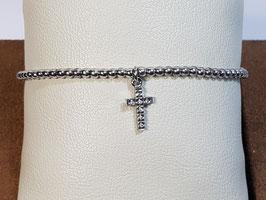 Pulseira prata de bolas com cruz de zircónias - AN