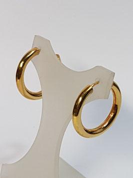 Brincos prata dourada argola canevão redondo 4mms - PP