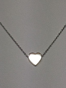 Fio prata coração liso 3D - RB