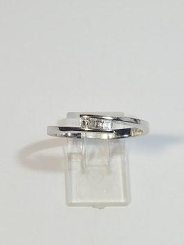 Anel ouro branco e diamantes quadrado - traçado- ON