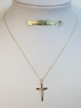 Fio ouro cadeado fino com cruz de fio quadrado com cristo - MM