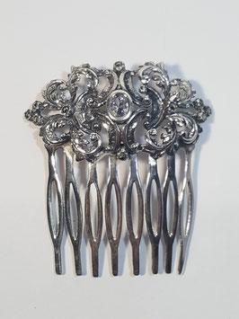 Travessão / Pente prata com flores e zircónia - TV07 - RB