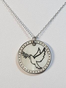 Fio prata manga com medalha dupla pomba recortada - CAD
