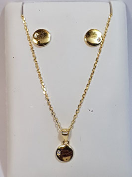 Fio e brincos em prata dourada com disco - AU