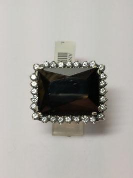 Anel em prata com onix rectangular grande e zircónias