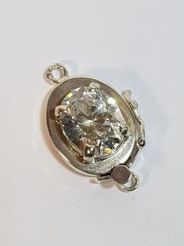 Fecho Colar Prata Zircónia Oval - ANF FE00357
