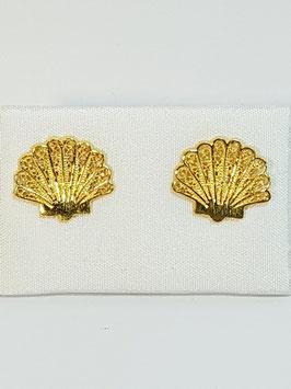 Brincos filigrana em prata dourada - concha - FM
