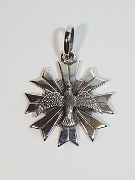 Medalha Espírito Santo Pomba Prata - Resplendor 25 PP - MR257