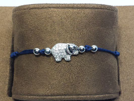 Pulseira de seda com bolas e elefante em prata com zircónias - JCC