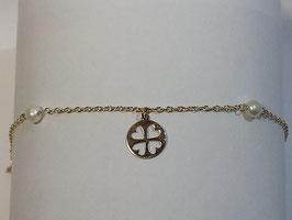 Pulseira em Ouro 9Kts -  malha cadeado com pérolas e medalha trevo- AR