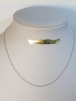 Fio Ouro Branco Cadeado Lapidado Fino 1,1 - MM