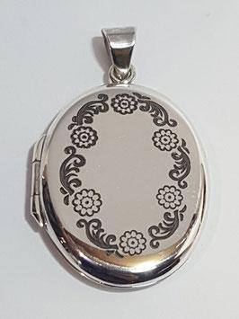 Medalha de Abrir Oval Gravada Flores 35.25 - PP