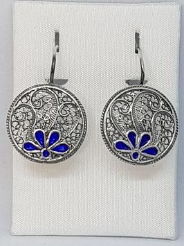 Brincos filigrana em prata redondo com esmalte azul - FM