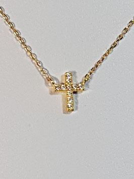 Fio Ouro 9kts - Cruz de zircónias 8.6 - JPS