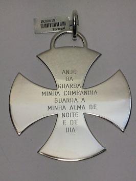 Cruz de Malta de Berço em Prata TOP - Oração Anjo Guarda