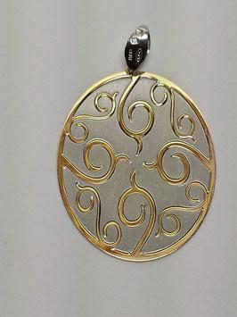 Medalha oval bicolor de cornucópias