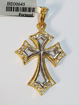Cruz em ouro aberta bicolor zircónias