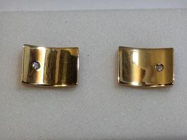 Botão de Punho Ouro - Rectangular Zircónia CTª