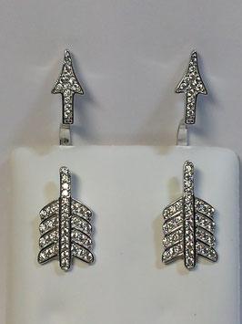 Brincos prata seta do cupido com zircónias - AN