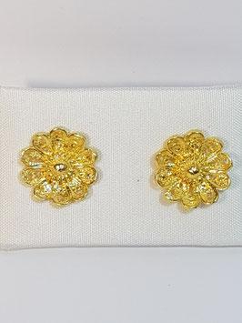 Brincos filigrana em prata dourada - flor dupla - AN