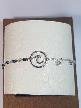Pulseira em prata com onda e zircónias - AUR