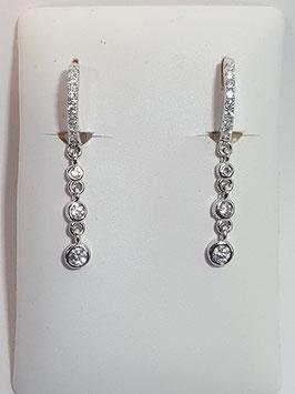 Brincos prata argola zircónias + zircónias penduradas - RR