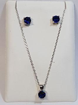 Fio e brincos em prata com zircónia azul safira - AU