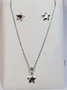 Fio e brincos em prata com estrela - AU