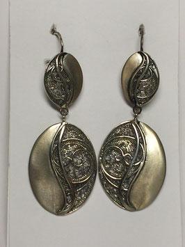 Brincos filigrana em prata - 2 medalhas ovais