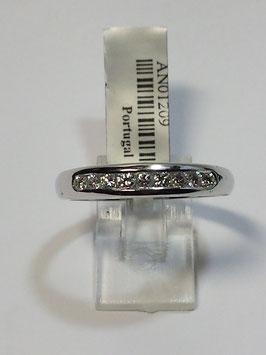Anel ouro branco e diamantes -1/2 memória curva em calibré - 3 AG