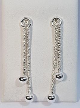Brincos prata malha manga com 2 bolas - RS