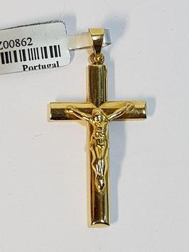 Cruz em ouro de fio oval lisa com cristo 29.17.3,5 - OT