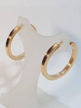 Brincos ouro argola redonda de fio quadrado riscas 26.2,5 - IGL