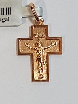 Cruz em ouro chapa de cantos quadrados com Cristo 16.13.5 - JPS