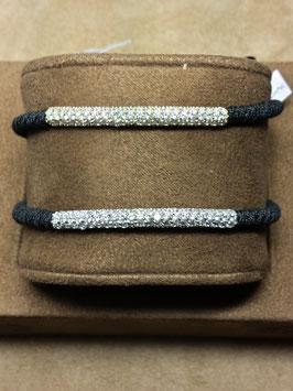 Pulseira seda e prata com barra de zircónias