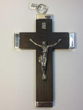 Cruz de pau santo com Cristo em prata - com pontas