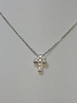 Fio ouro branco malha cadeado com cruz de zircónias