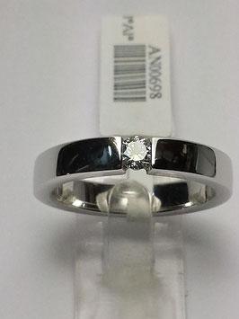 Anel ouro branco e diamante suspenso - solitário 0,10Cts - CA