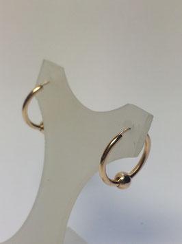 Brincos ouro argola redonda de fio redondo com bola 16x1,5 - AR