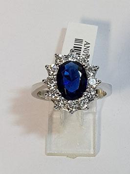 Anel em prata com pedra azul e zircónias - Diana - AUR